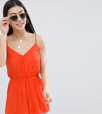 Asos DESIGN Petite Romper in Crinkle with Button Front