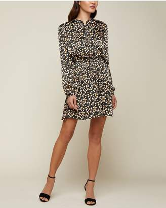 Juicy Couture Soft Focus Floral Hammered Silk Shirtdress