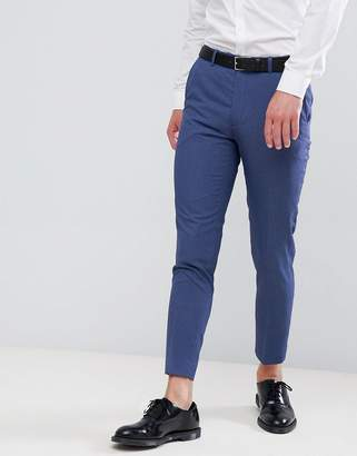 Moss Bros Skinny Cropped Suit Pants In Blue