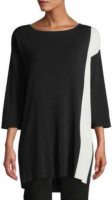 Eileen Fisher 3/4-Sleeve Colorblock Tunic Sweater, Petite