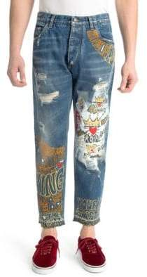 Dolce & Gabbana Royal Prince Printed Straight Jeans