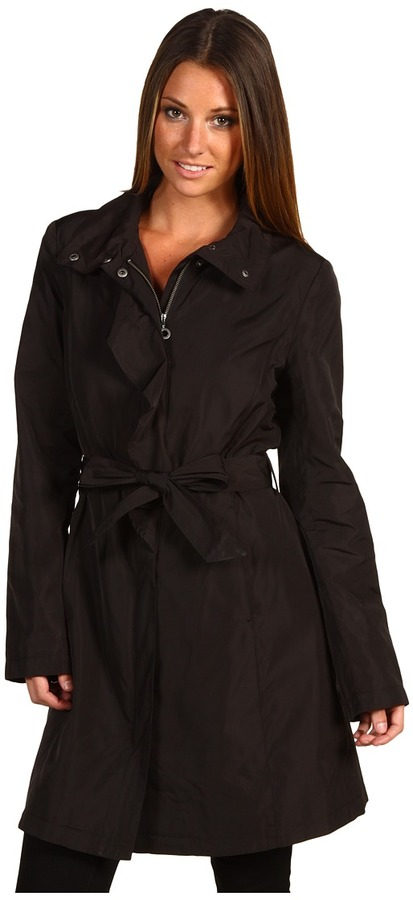 DKNY Stand Collar Ruffle Trench