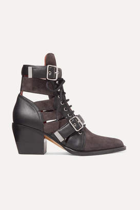 Chloé Rylee Cutout Leather And Suede Ankle Boots - Dark brown