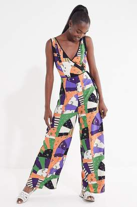 Urban Outfitters Patchwork Surplice Jumpsuit