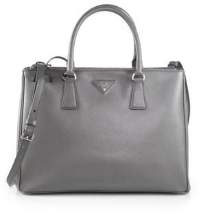 Prada Saffiano Medium Double Zip Top-Handle Bag $2,390 thestylecure.com