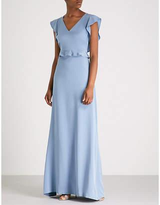 St. John Ruffled-trim stretch-silk gown