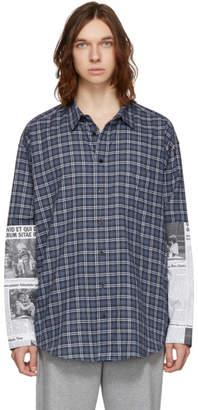 Balenciaga Blue and Grey Newspaper Patch Shirt