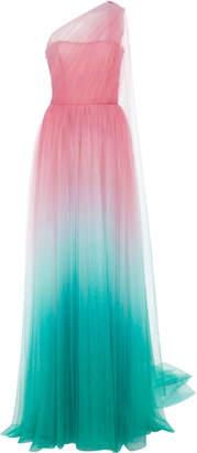 Monique Lhuillier One-Shoulder Ombré Tulle Gown