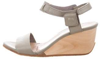 Camper Leather Ankle Strap Wedges