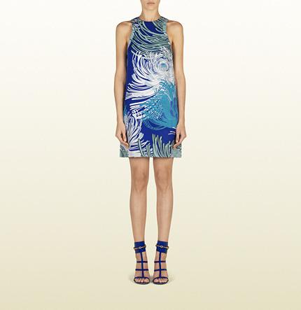 Gucci Blue Sapphire Dahlia Print Silk Georgette Tunic Dress