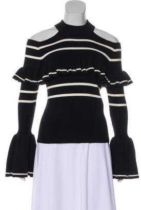 Self-Portrait Cold Shoulder Striped Sweater