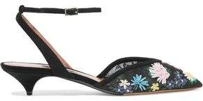 Tabitha Simmons Riley Meadow Floral-Appliquéd Mesh And Suede Pumps