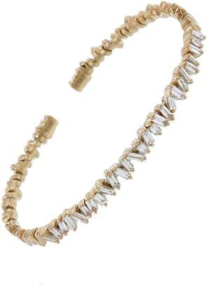 Suzanne Kalan Small Flexible White Diamond Baguette Firework Bracelet - Rose Gold