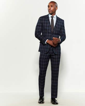 English Laundry Two-Piece Navy Tartan Wool Suit