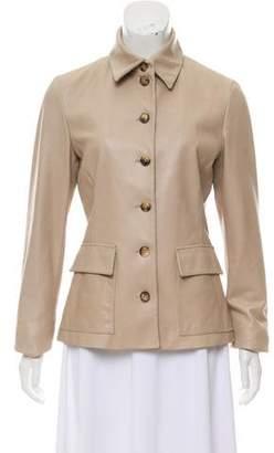Loro Piana Leather Button-Up Jacket