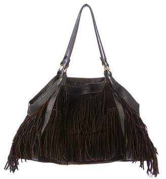 Hogan Leather-Trimmed Fringe Shoulder Bag