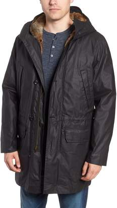 Billy Reid Camden Waxed Cotton Parka with Removable Genuine Rabbit Fur Liner