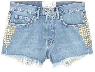 Sandrine Rose 'The Doll in Libertine' stud frayed denim shorts