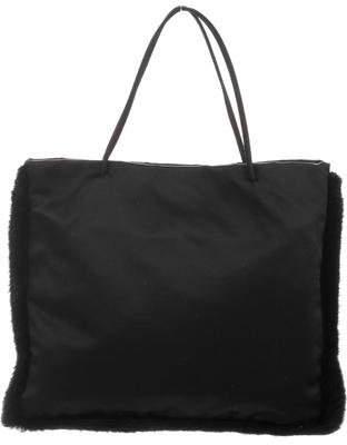 Prada Satin Mink Fur-Trimmed Bag