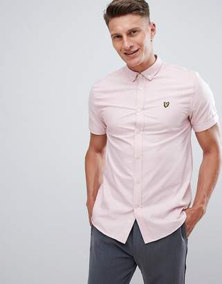 Lyle & Scott Button Down Short Sleeve Oxford Shirt In Pale Pink