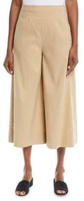 Vince High-Waist Stretch-Linen Ankle Culotte Pants