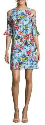 Nicole Miller New York Floral-Print Cold-Shoulder Sheath Dress