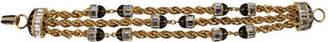Rachel Zoe Three Row Multi Row Bracelet With Black Enamel And Crystal Stations