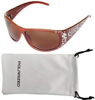Vox Footwear Women's Polarized Sunglasses Designer Fashion Eyewear Free Microfiber Pouch - Amber Frame - Amber Lens