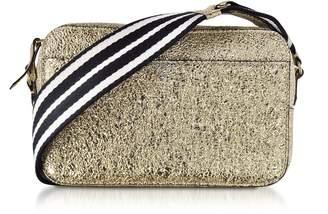 b4e3db69292f3 RED Valentino Platinum Crackled Metallic Leather Crossbody Bag W striped  Canvas Strap