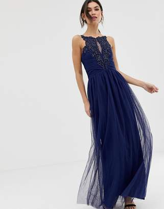 Little Mistress Applique High Neck Maxi Dress