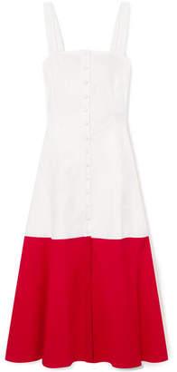 DAY Birger et Mikkelsen STAUD - Dusk Two-tone Cotton-blend Poplin Dress - White