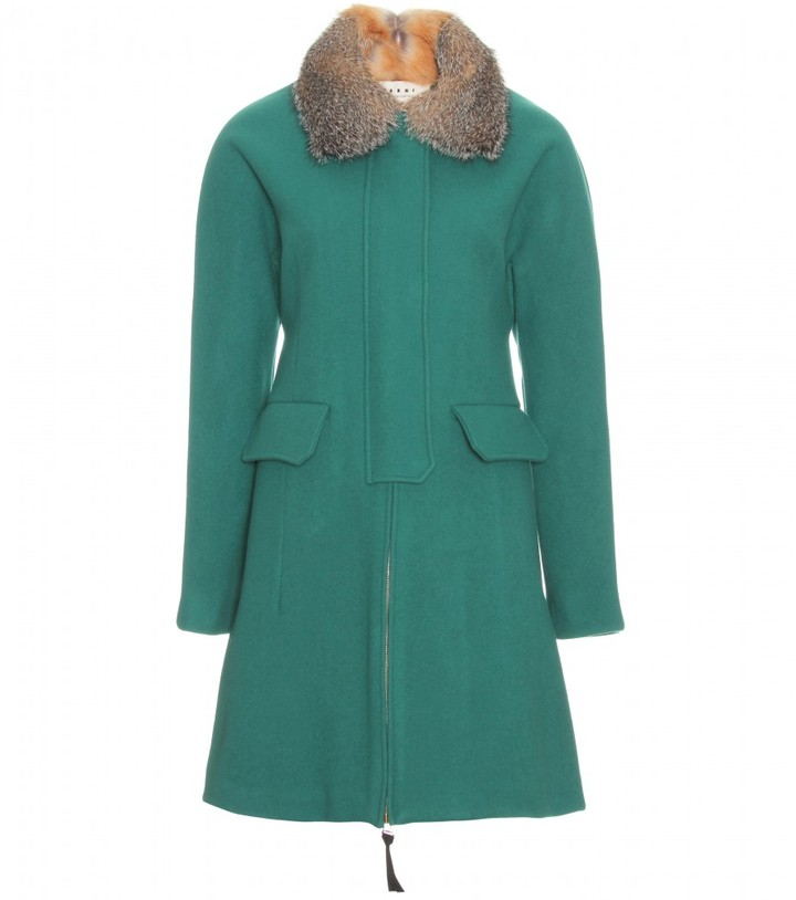 Marni Edition WOOL COAT WITH FUR TRIMMED COLLAR