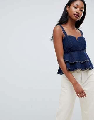1ec50de7d8b Asos Design DESIGN denim cami top with ruffle hem in indigo