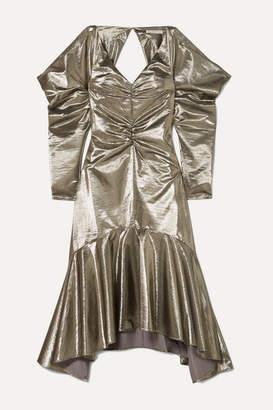 REJINA PYO Camille Cutout Ruched Lamé Midi Dress - Silver