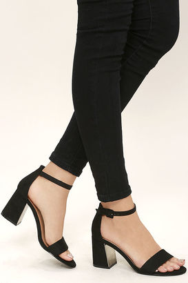 Tamra Black Suede Ankle Strap Heels $34 thestylecure.com
