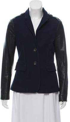 Burberry Leather-Accented Button-Up Jacket