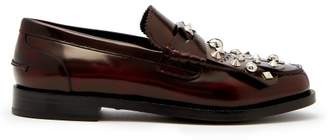 Burberry - Studded Polished Leather Loafers - Mens - Burgundy