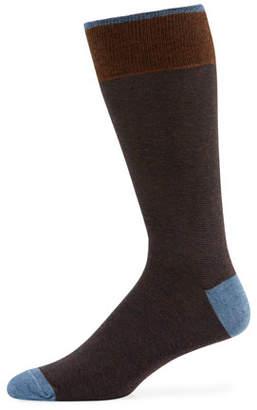 Neiman Marcus Men's Millerighe Contrast-Trim Socks