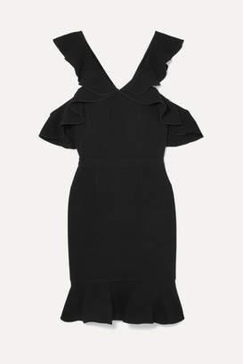 Rachel Zoe Delia Cold-shoulder Ruffled Crepe Mini Dress - Black
