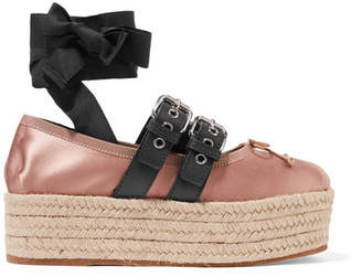 Miu Miu Leather-trimmed Satin Platform Espadrilles - Antique rose