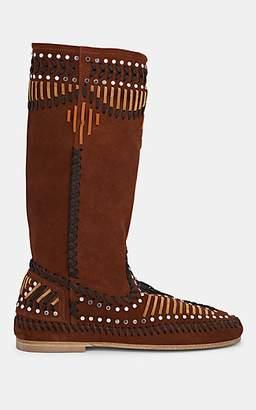 Alberta Ferretti Women's Studded Suede Knee Boots - Brown