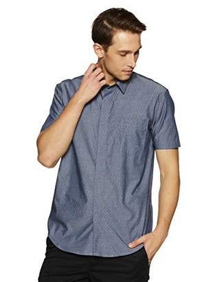 Casual Terrains Men's Tailored Slim-Fit Short-Sleeve Vintage Style Hidden Placket Shirt