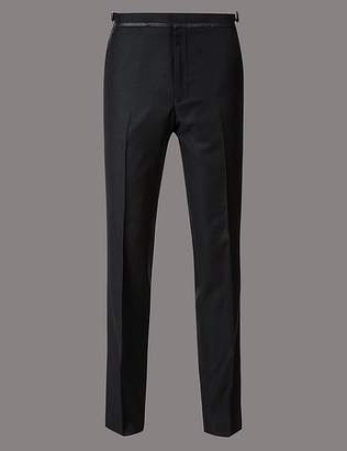 Marks and Spencer Navy Textured Tailored Fit Wool Trousers