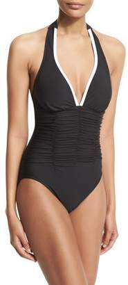 Magicsuit Kara Contrast-Trim Halter One-Piece Swimsuit, Black