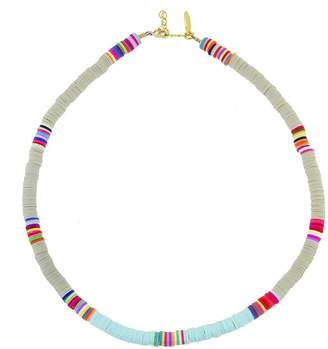 ALLTHEMUST Light Blue and Grey Heishi Bead Necklace - Yellow Gold