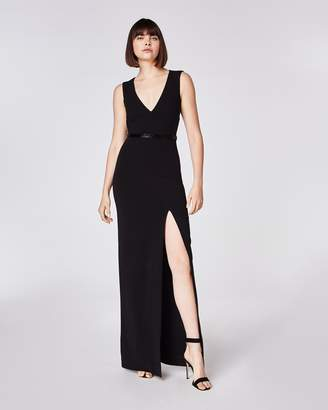 Nicole Miller Structured Heavy Jersey V Neck Open Back Gown