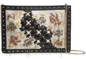 Balmain Embellished Embroidered Leather Clutch