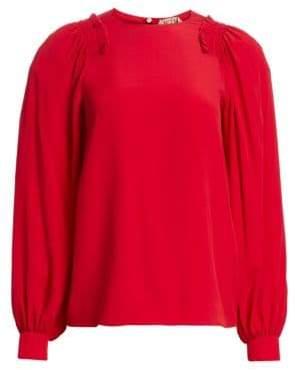 No.21 Long-Sleeve Silk-Blend Blouse