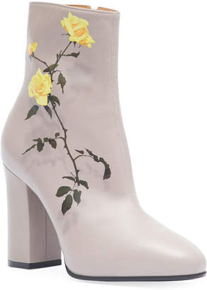 Dries Van Noten Midbrown Printed Floral Leather Booties