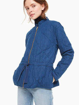 Kate Spade Chambray Quilted Jacket, Indigo - Size XXL
